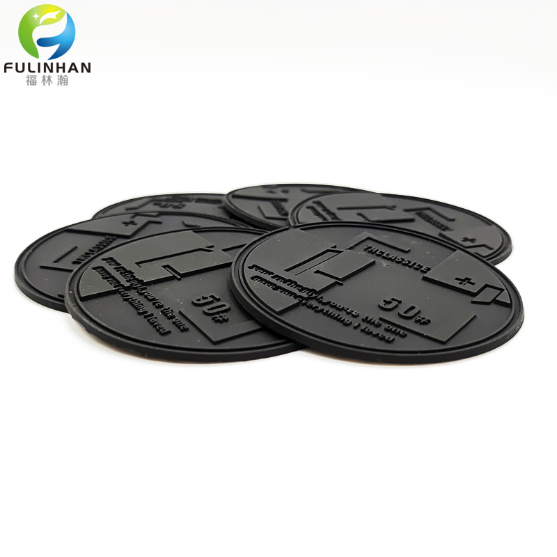 black embossed pvc patch